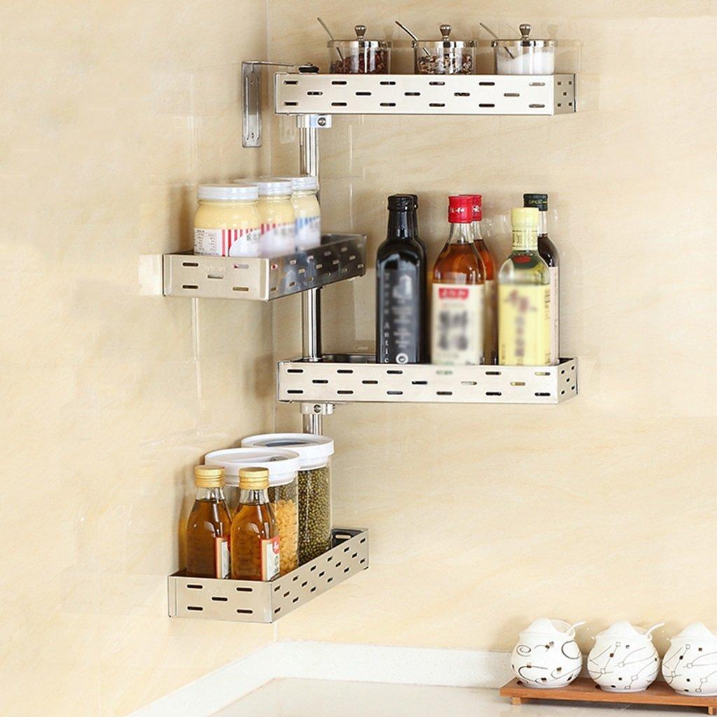 Colore : Style 1 Scaffali per cucina Mensola di cucina in acciaio inox Mensola di stagionatura a parete Forniture da cucina per uso domestico Rack di angolo di stoccaggio stile facoltativo WSSF