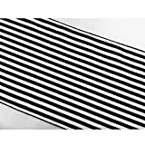 "ArtOFabric Decorative Cotton 1/2 Inch Black and White Stripped Table Runner 12"" X 108"""