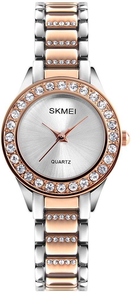 Women Fashion Swarovski Crystal Accented Gold-Tone Stainless Steel Quartz Watch Ladies Waterproof Dress Two-Tone Bangle Bracelet Wristwatches (Rose Gold)