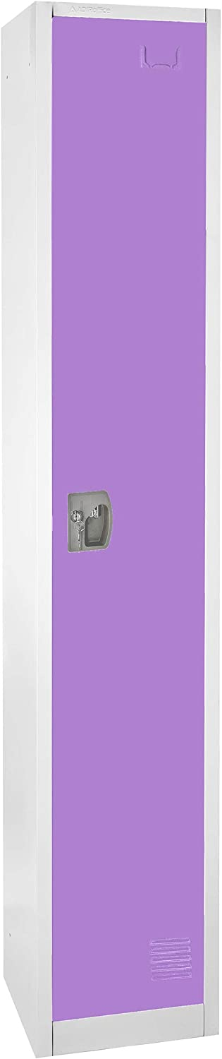 AdirOffice Large Steel Metal Storage School Locker - Single Tier Free Standing Storage Compartment - Secure Colorful Spacious Organizer Perfect for Academic and Commercial Use (Purple)