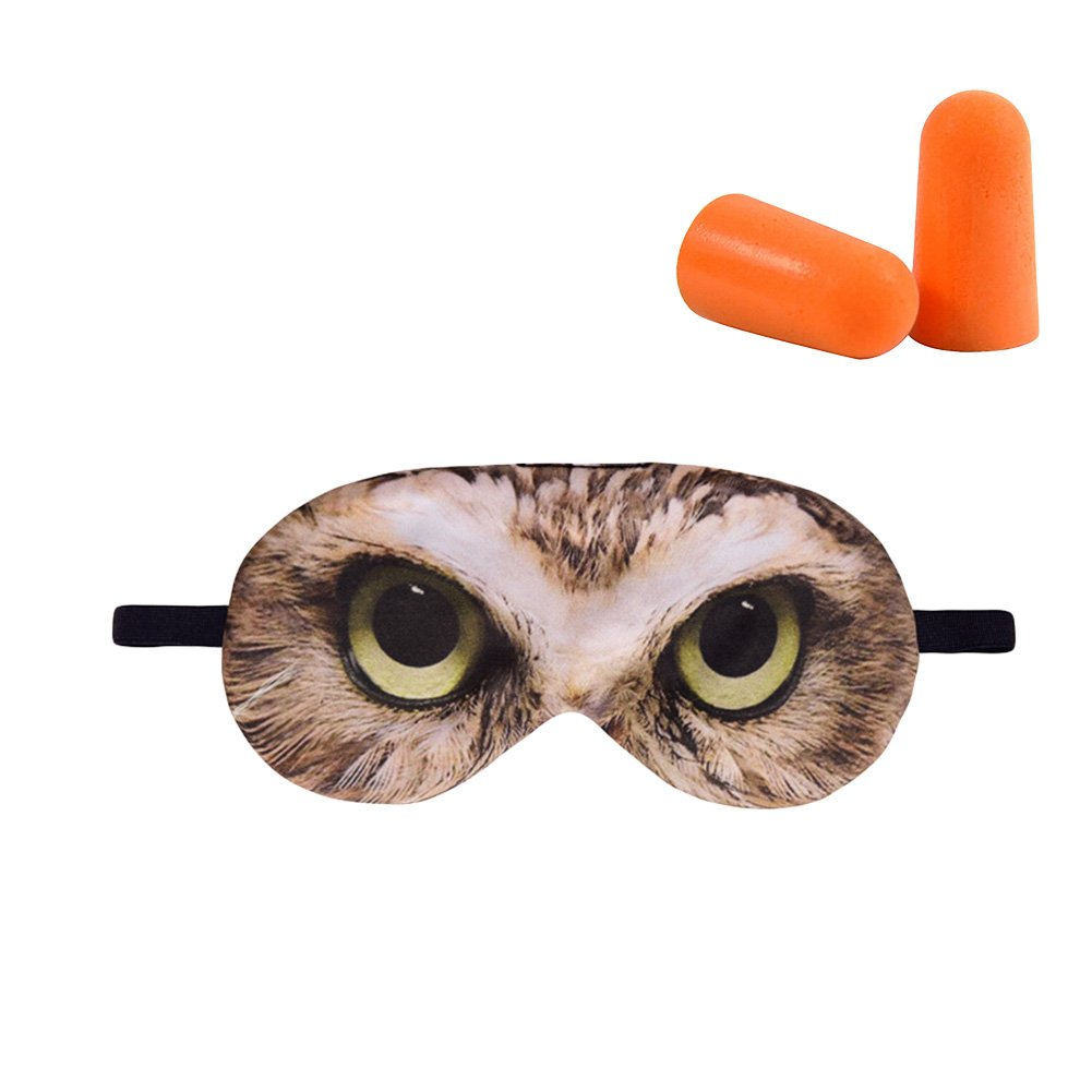 HADM 3D Printed Funny Eye Mask NAP QUEEN Sleep Mask Blindfold Eyeshade Eye Cover with Earplugs for Travel, Shift