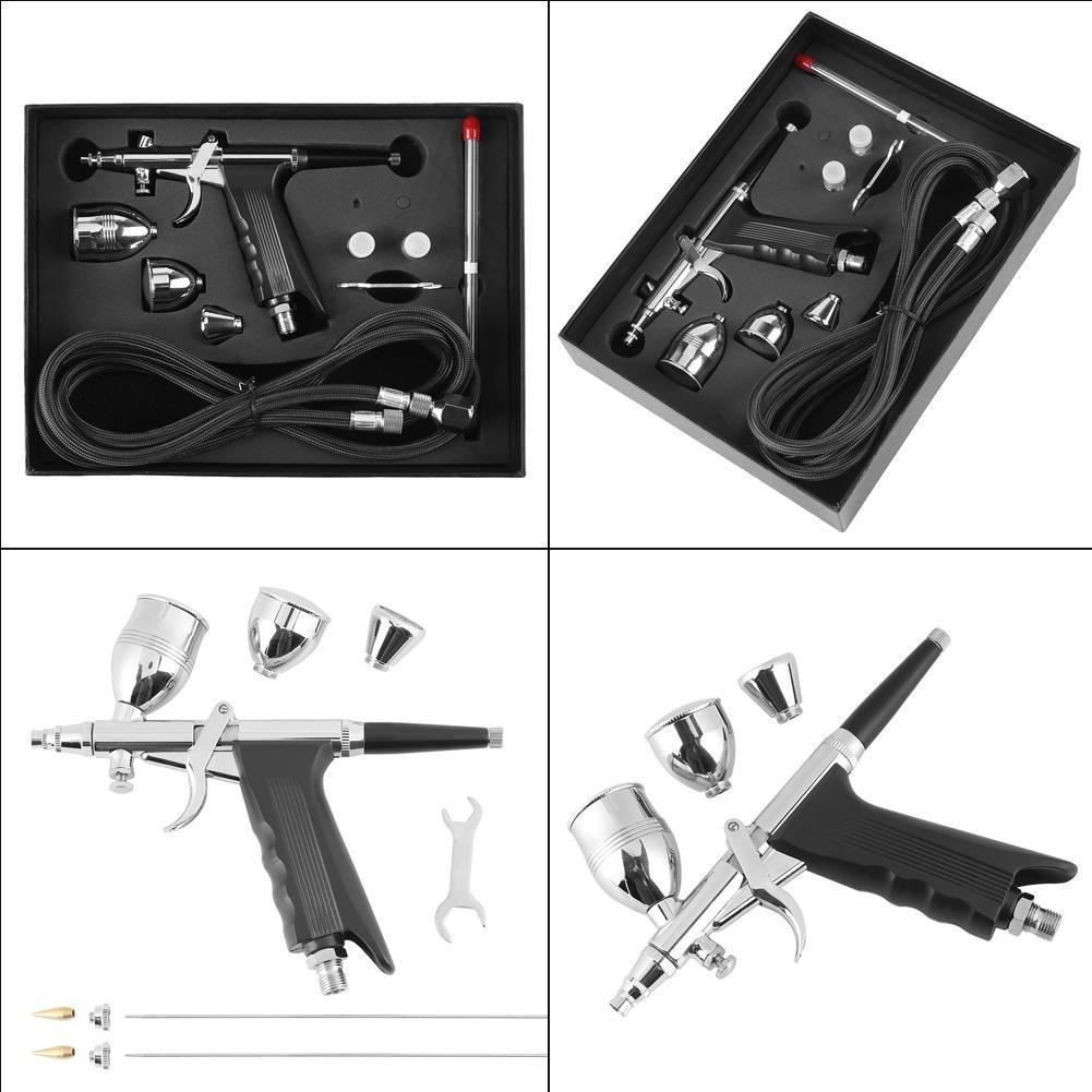 aerografo con Pistola a spruzzo a gravit/à 0,3 mm 0,5 mm 0,8 mm Set di Tazze per Set di coppette utilizzato per Modelli a Colori Abbigliamento in Pelle Stampa Auto Jarchii Kit aerografo