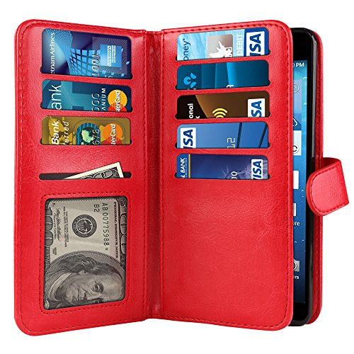 NextKin Case For Kyocera Hydro View C6742 Reach C6743 Hydro Shore, Premium PU Leather Dual Wallet Folio TPU Cover, 2 Large inner Pockets Double flap Privacy, Card Slots Holder Snap Button - Red - Kyocera Wallet Phone Case