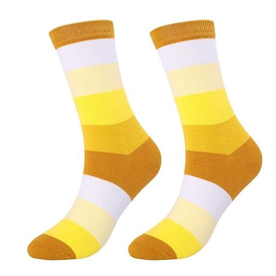 Gysad 1 par Calcetines hombres Diseño de rayas Calcetines de algodon hombre Absorción de agua transpirable Calcetines hombres divertidos Suave y confortable ...