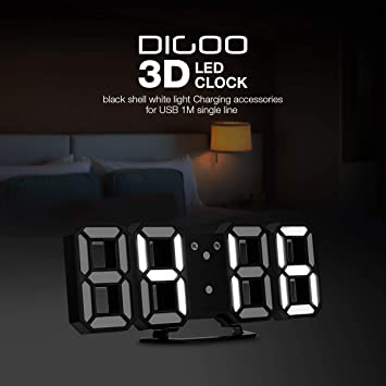 Reloj de alarma digital de pared 3D LED, DIGOO DC-K3 Reloj de alarma