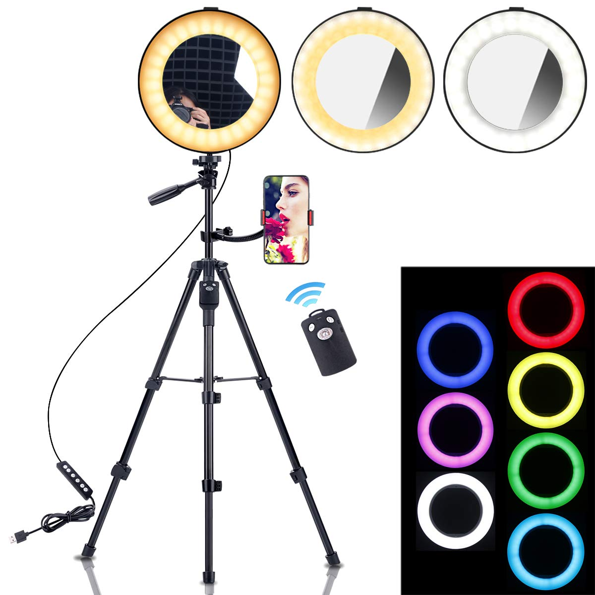 B-Land 8'' Ring Light with Tripod Stand & Phone Holder, Removable Makeup Mirror with Lights, Dimmable RGB LED Selfie Ring Lights with Remote for Photos & YouTube Videos