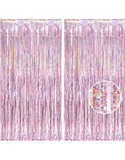 BRAVESHINE 2 Pack 3.2 ft x 8.2 ft Tinsel Foil Fringe Curtains Metallic Photo Booth Backdrops Party Supplies for Birthday Wedding Christmas Bridal Shower Bachelorette Holiday Decorations - Light Pink