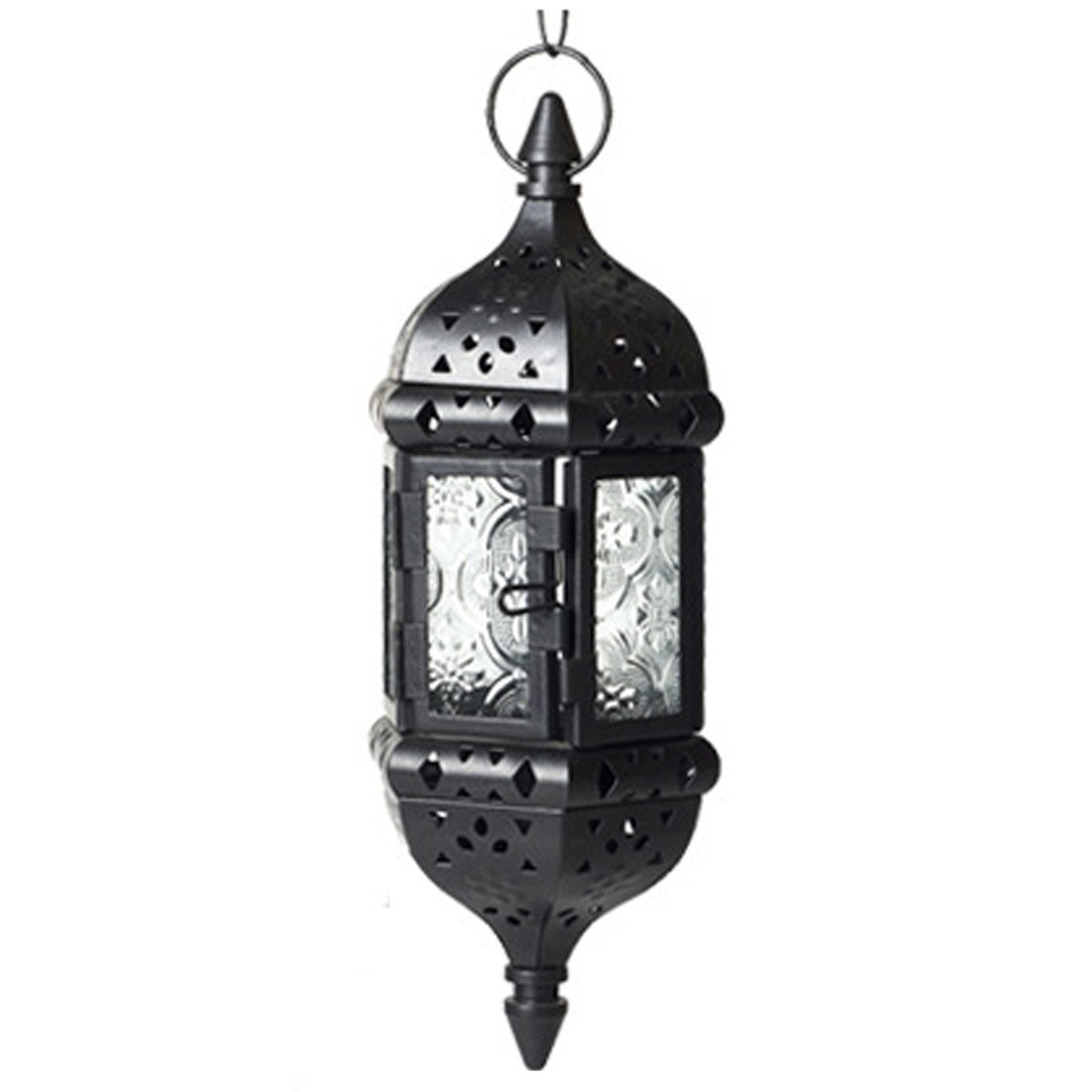 Glass Metal Moroccan Candle Holder Vintage Hanging Lantern With 17.3'' Hanging Chain (Black)