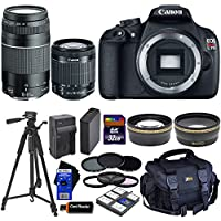 Canon EOS Rebel T5 DSLR Camera with 18-55mm IS II & 75-300mm III Zoom Lenses (International Version) + Tele & Wide Lenses + ND Filters ND2,ND4,ND8 + 14pc 32GB Deluxe Accessory Kit Basic Facts Review Image