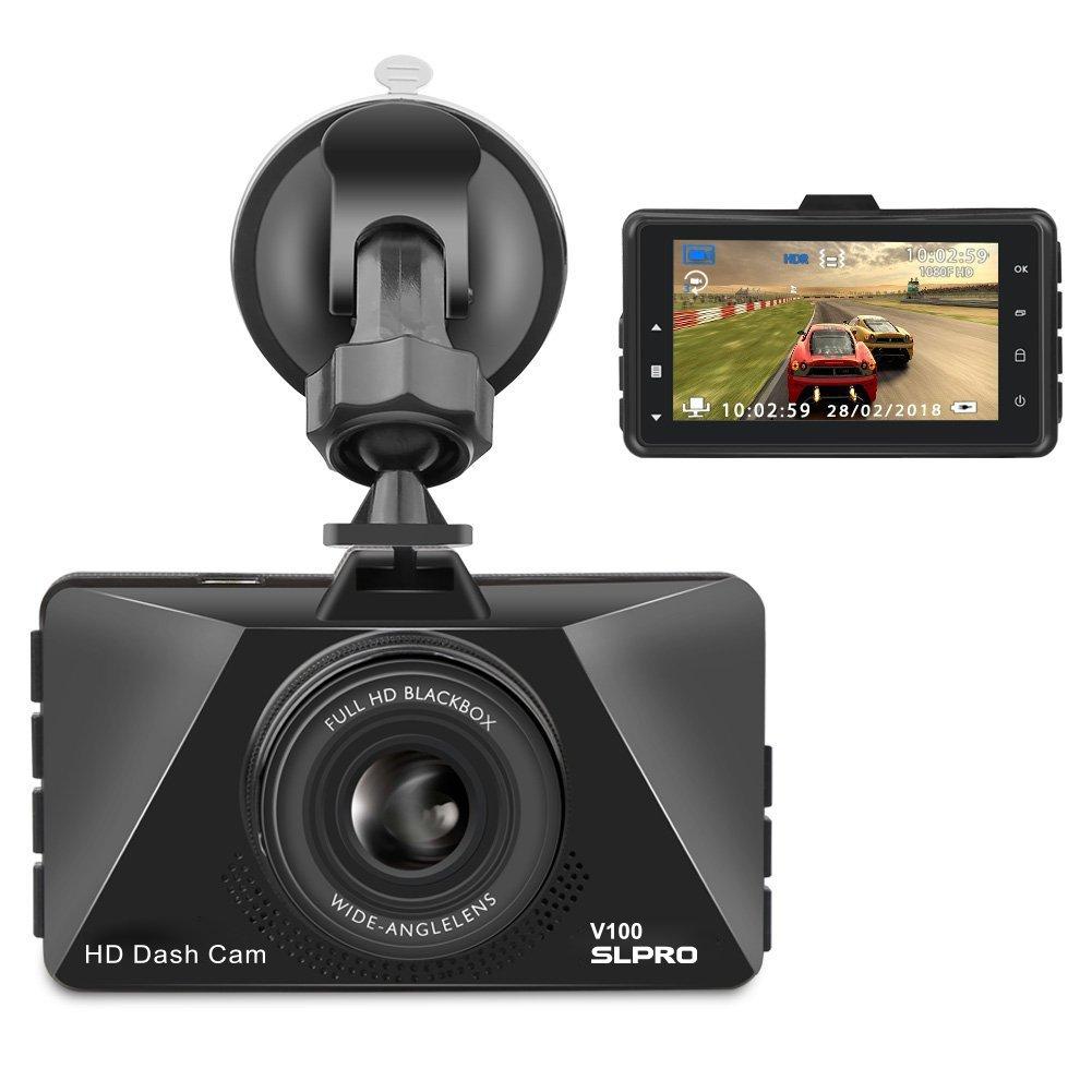 SLPRO V100 Full HD 1080p Camé ra Embarqué e Voiture camé ra espion enregistreur vidé o avec objectif grand angle de 170 ° , 3 pouces Ecran LCD de WDR, dé tection de mouvement, moniteur Park, enregist
