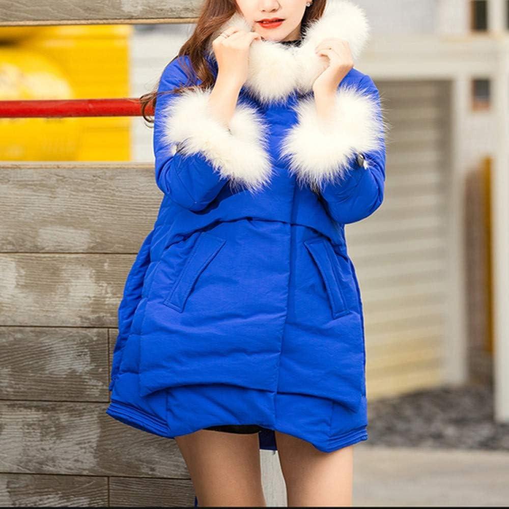 DYH&CTS Doudounes Manteau en Duvet Rose à la Mode, Manteau d'hiver Chaud Longue Veste, Manteau Femme Duvet de Canard Blanc à Capuche (Femmes) Bleu