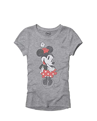 1943b1332bb3 Amazon.com: Disney SHY Minnie Mouse Classic Vintage Disneyland World Adult  Women's Juniors Slim Fit Graphic Tee T-Shirt Apparel: Clothing