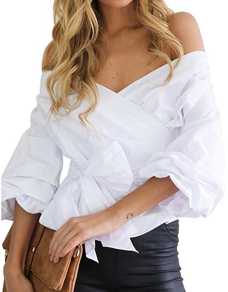 Minetom Mujer Verano Casual Cuello En V Manga Larga Camisetas Atractivas Correas Cruzadas Tirantes Blusa Sin