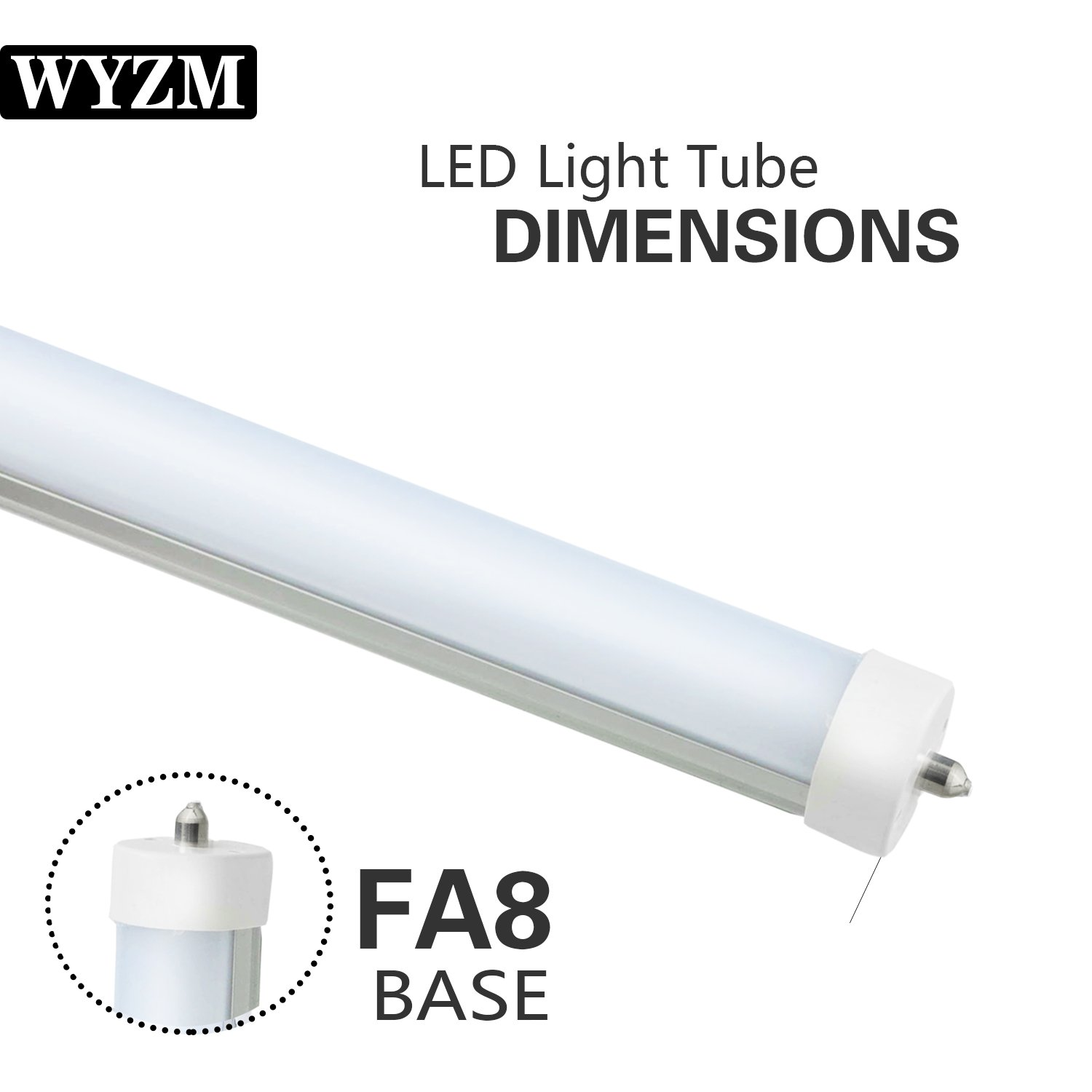 8ft LED Light Tubes for Fluorescent Fixtures,96'' F96T12 LED Tube,Replacement,120V and 277V Input, 5500K Daylight White,40Watt 4000LM Super Bright (4PCS 5500K Daylight White) by WYZM (Image #3)