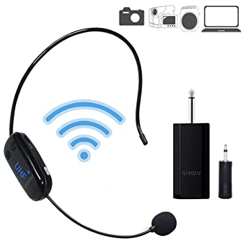 SHIDU UHF Wireless Auriculares Portable Wall de Through Headset with 2 en 1 Mano Held, Stable Wireless Transmisión para Voz Amplificador, Altavoces, ...