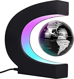 JOWHOL Magnetic Floating Globe with LED Lights, Perpetual Auto-Rotating, 3 inch Floating Globe, Perfect Cool Gift for Men, Kids, Office Decor, Desk Decor, Education Teaching Demo (Black)…