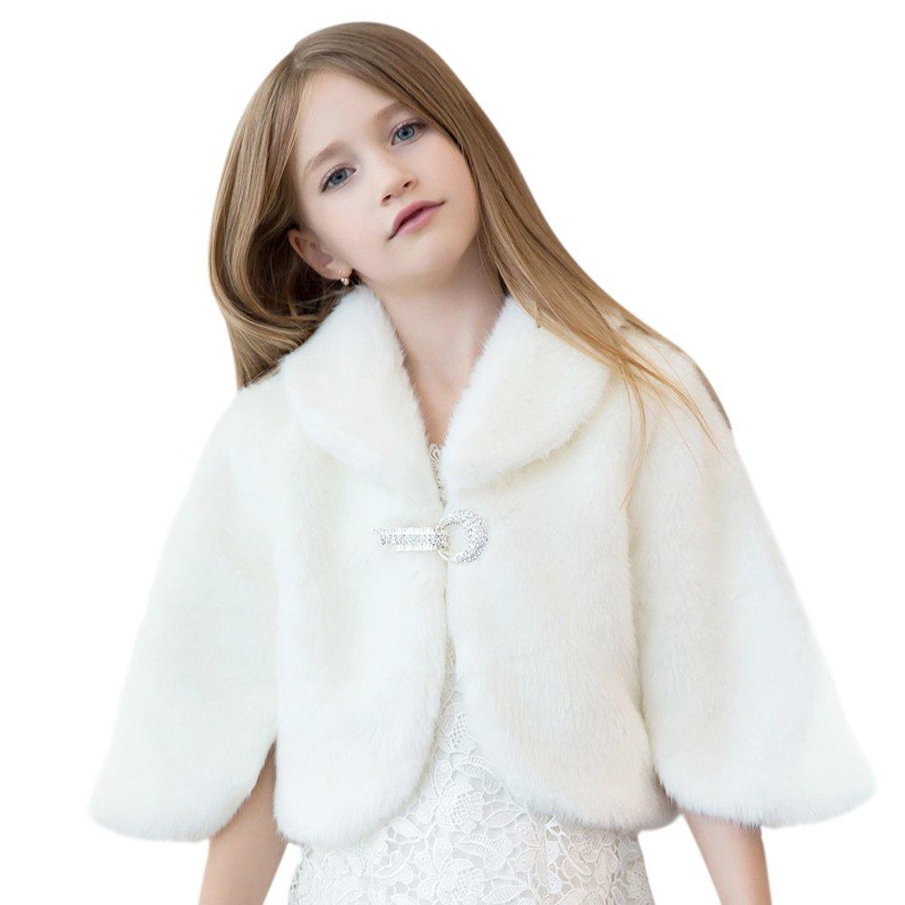 Faux Fur Wedding Flower Girl Shrug Princess Kid Wrap Cape White 2T