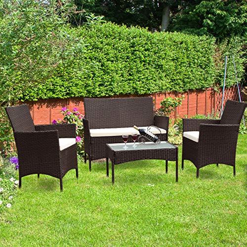 "Tangkula Patio Furniture Set 4 Piece, Includes loveseat (42""x23.5""x33.5""), Single Sofa (23.5""x23.5""x33.5"") and Coffee Table (28.0""x16.5""x15.5""), Outdoor Garden Backyard Lawn Furniture ..."