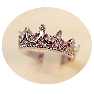 44620145e7 Fashion Princess Silver Rhinestone Queen Crown Wedding Ring Size  7/8/9,Optional Color - Rose Gold/Silver