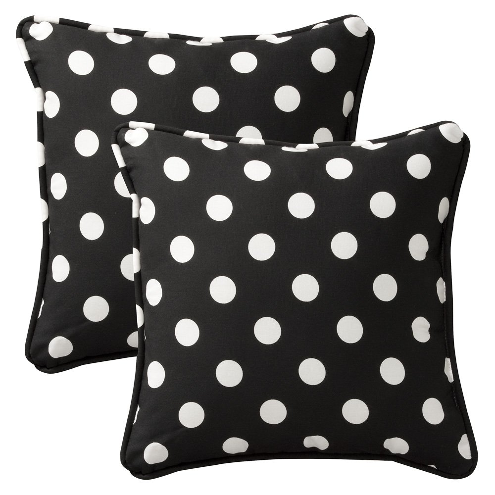 Pillow Perfect Decorative Black/White Polka Dot Toss Pillows, Square, 2-Pack