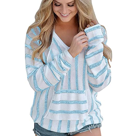 Amazon.com : Clearance!HOSOME Women Top Womens Autumn Spring Fashion Womens Stripe Loose Long Sleeve Jumper Sweater Ladies Casual Knitwear Tops : Grocery ...