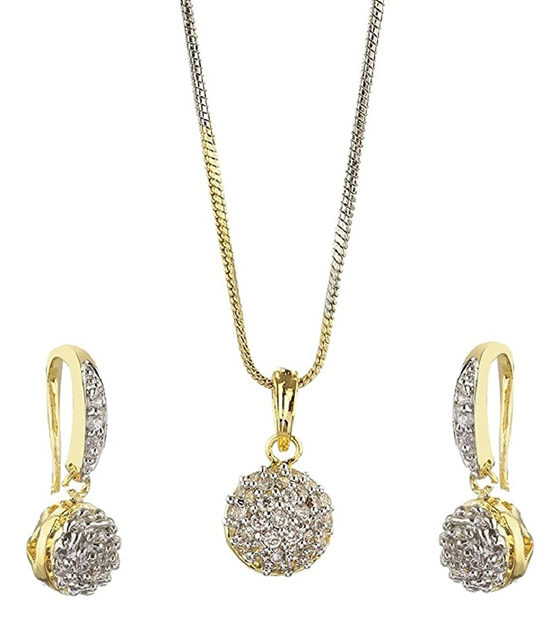 9ac1e2e7e Buy Aabhu Gold Plated Trendy Ball Design American Diamond Pendant Set  Necklace Set with Earrings For Women And Girls Online at Low Prices in  India | Amazon ...