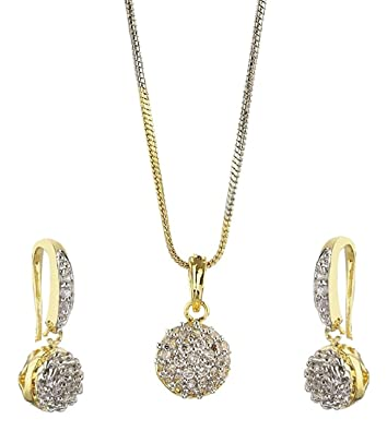1e835370a Buy Aabhu Gold Plated Trendy Ball Design American Diamond Pendant Set  Necklace Set with Earrings For Women And Girls Online at Low Prices in  India | Amazon ...