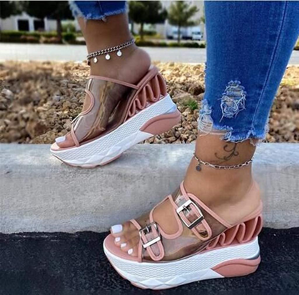 Baiggooswt Women Open Toe Super High Heel Beach Shoes Fashion Buckle Straps Perspective Platform Sandals Wedges Slippers