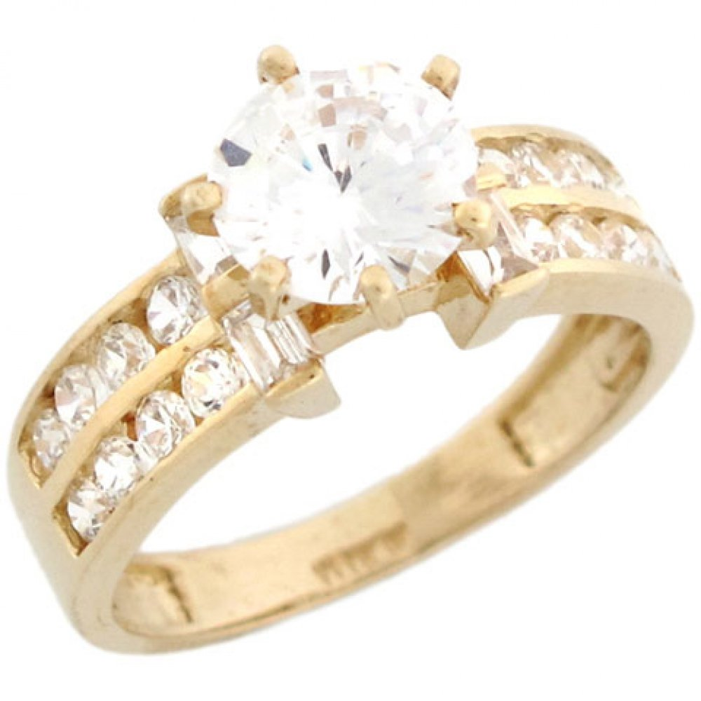 Jewelry Liquidation 10k Yellow Gold Round CZ Pretty Engagement Ring with Baguette Accents