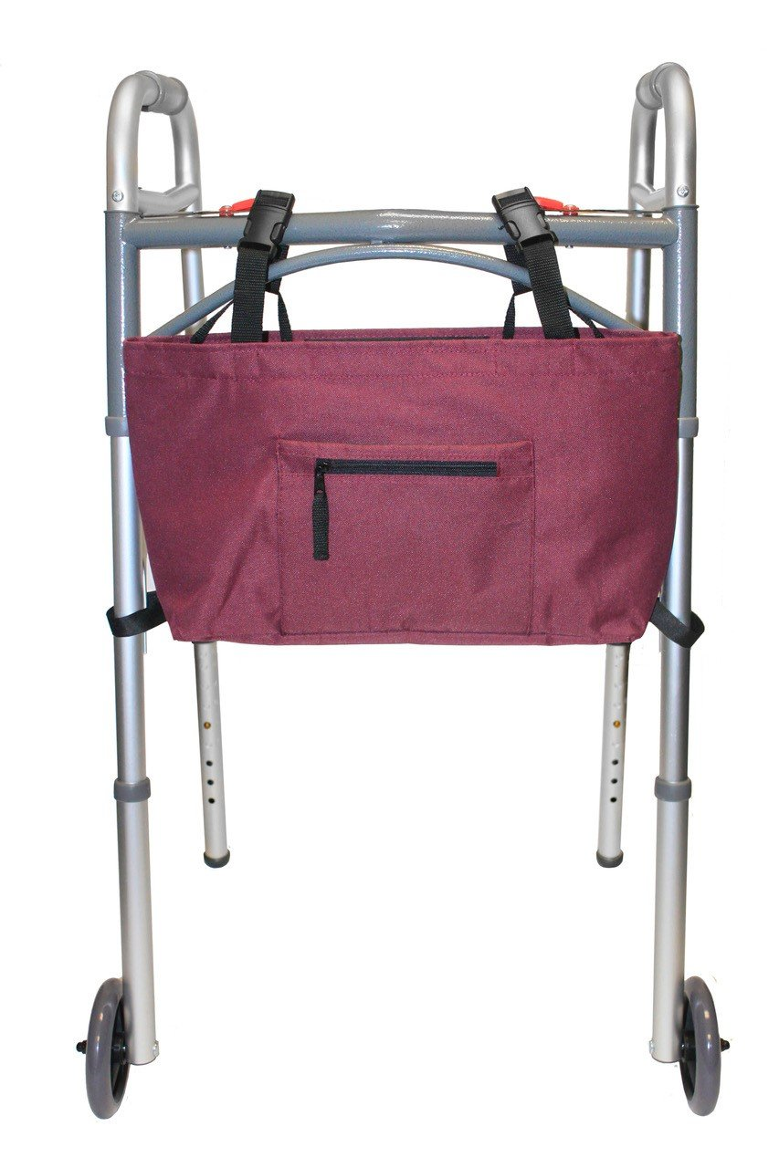 RMS Walker Bag | Universal Fit for Most Walkers, Rollators or Scooters | Ideal Tote or Pouch Provides Storage for Seniors or Walker Accessories | Water Resistant (Wine)