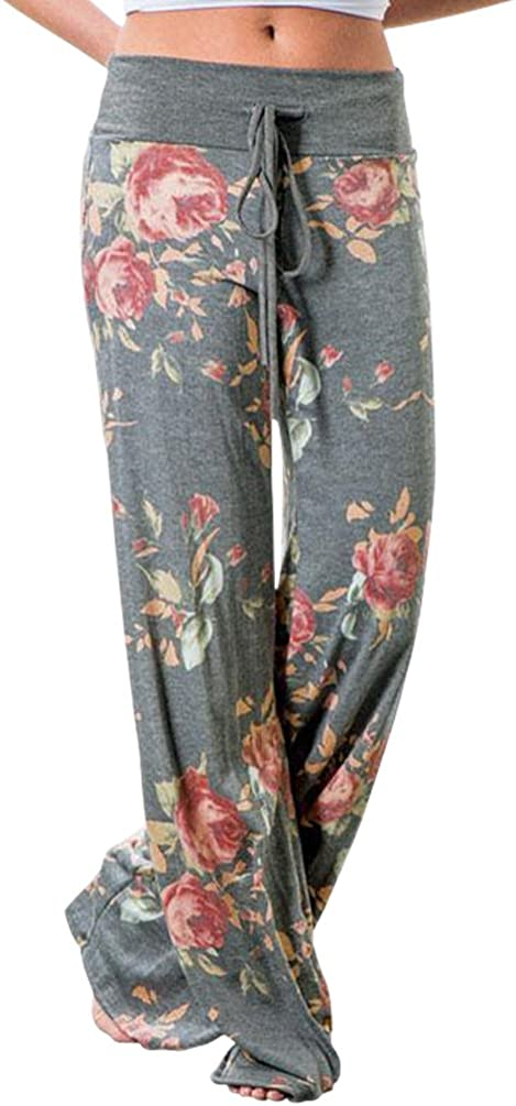 AMiERY Women's Comfy Casual Pajama Pants Floral Print Drawstring Palazzo Lounge Pants Wide Leg at  Women's Clothing store