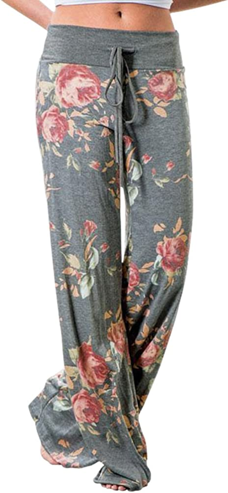 Nevera Womens Wide Leg Lounge Pants Comfy Stretch Camouflage Print Drawstring Palazzo Pants