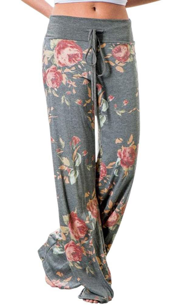 Pajamas for Women Women's High Waist Casual Floral Print Drawstring Wide Leg Palazzo Pants Lounge Pajama Pants (Tag XXL (US 12), Grey)