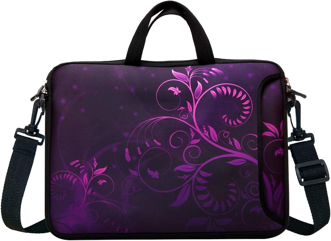 "14-Inch Neoprene Laptop Shoulder Messenger Bag Case Sleeve for 13 13.3 14 14.1"" Inch Notebook/Chromebook (Purple Flower)"