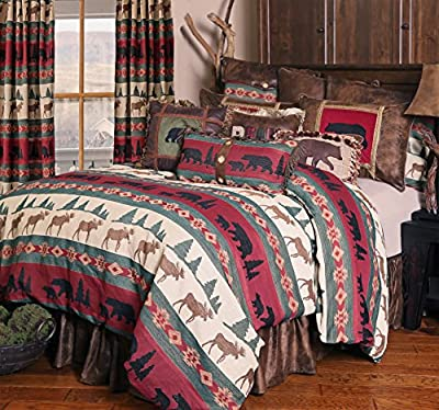 Rustic Western Southwestern Equestrian Decoration Comforter set with native american prints - 5PC RED BRANCH KING