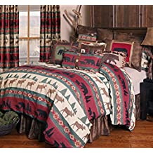 Rustic Western Southwestern Comforter with native american prints, bears, moose and pine trees Set 5PC Takoma (Queen) R4L6519-5