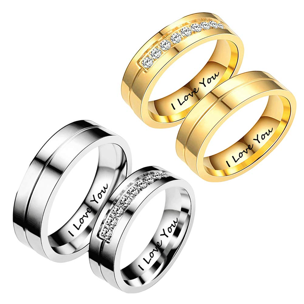 97e766d27d Buy Hot Sale-Fashion Rhinestone Letters I Love You Couple Ring Men Women  Wedding Jewelry Gift Online at Low Prices in India | Amazon Jewellery Store  ...