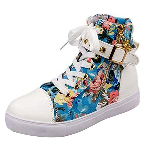 Logobeing Zapatillas de Deporte con Cremallera de Color Sólido de Tacón Alto Plana Zapatos Canvas de