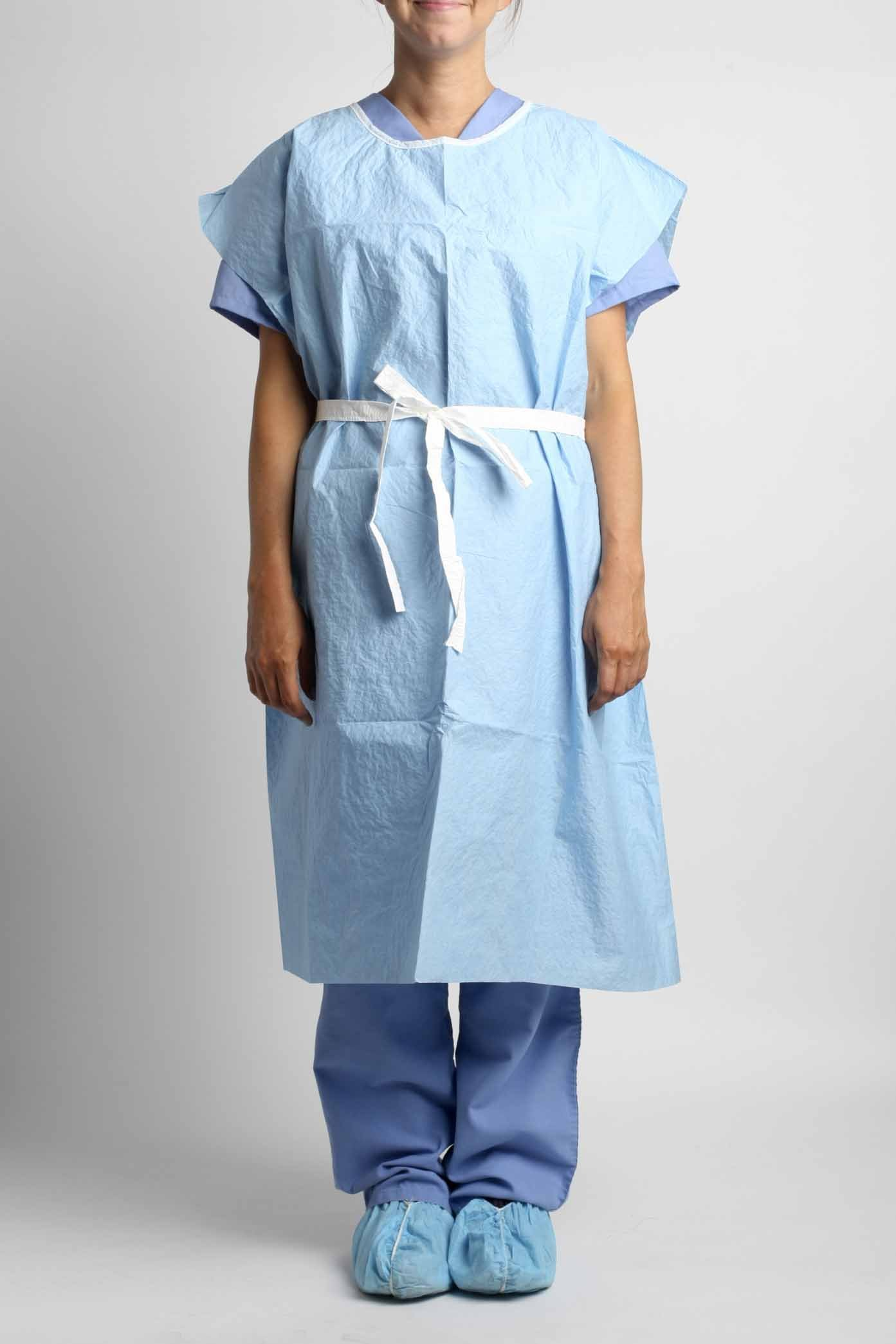 MediChoice Examination Gown, Non-Woven, Reversible Front Back Opening, Stretchable Waist Tie With Knee Length Coverage, Glued Scrim Reinforced, Blue, 30 Inch x 42 Inch (Case of 50)