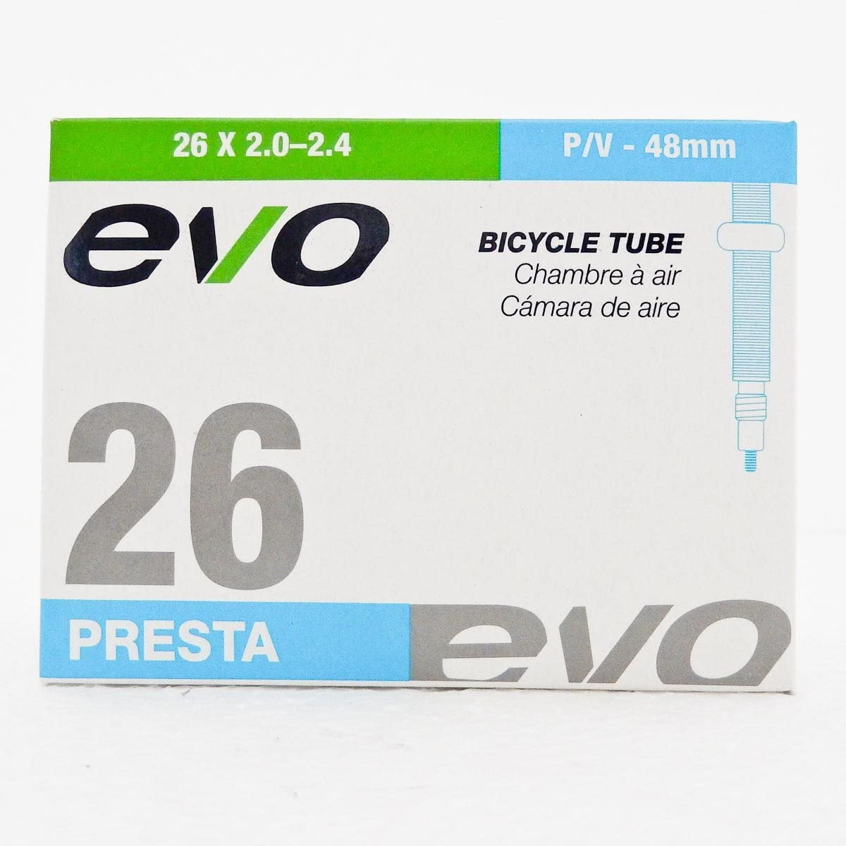 26x2.1 48mm Presta Valve 2-PACK Evo Mountain Bike Inner Tubes 26x2.0-2.4