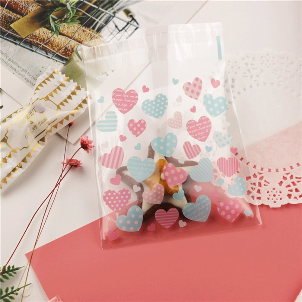 HugeDE 200 Pcs Cute Love Heart Cello Cellophane Bags OPP Plastic Bags for Bakery Cookies 10x10cm