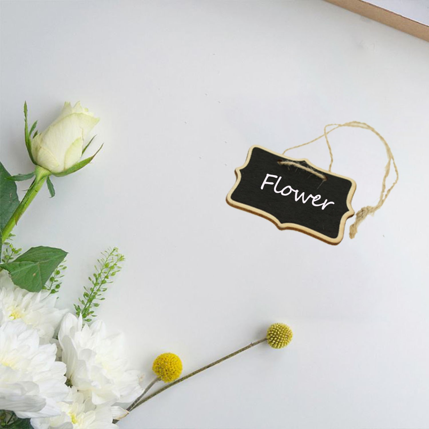 TIMGOU 15 Pack Mini Chalkboards Signs with Stand, Wood Writing Signs including 5 Rectangle, 5 Laciness and 5 Hanging Style Message Board Signs for Wedding, Party, with 1 Box Chalk by TIMGOU (Image #5)