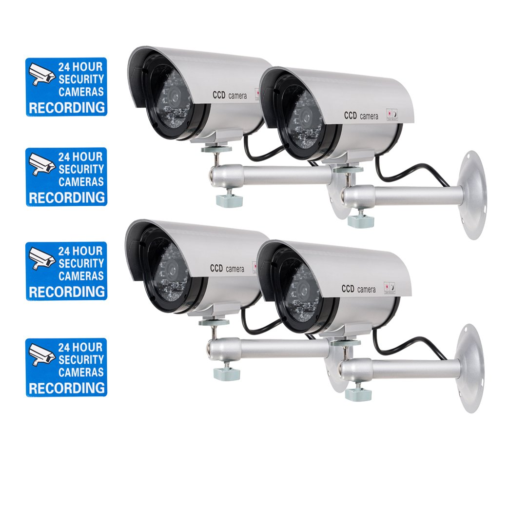 WALI Bullet Dummy Fake Surveillance Security CCTV Dome Camera Indoor Outdoor with 1 LED Light, Warning Security Alert Sticker Decals (TC-S4), 4 Packs, Silver by WALI