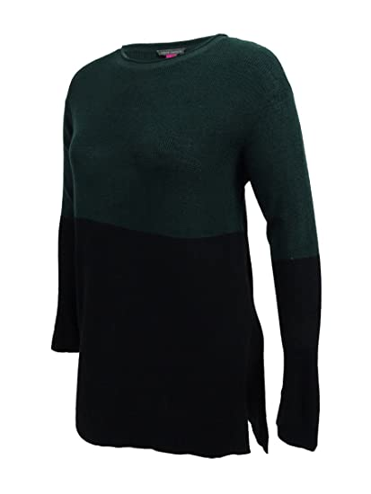 8fe0eed2 Vince Camuto Womens Green Color Block Long Sleeve Jewel Neck Hi-Lo Sweater  Size: L: Amazon.co.uk: Clothing