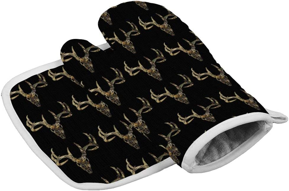 HARAJUKU STYLE Deer Head Camoflauge Oven Mitts of Quilted Cotton Lining - Heat Resistant Kitchen Gloves, BBQ Cooking Oven Mitt