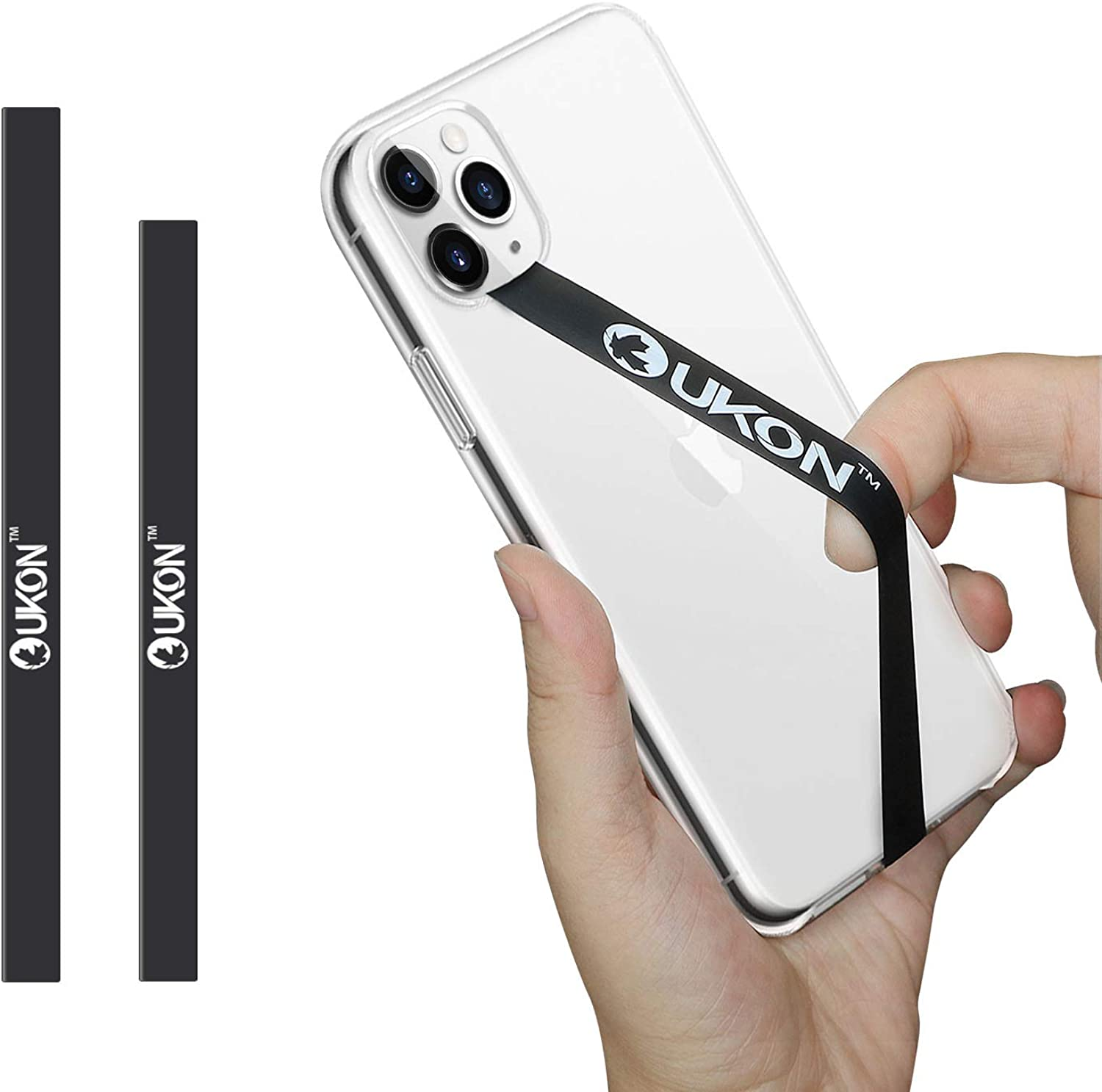 UKON Phone Strap,Removable Silicone Stretching Strap Reusable Strong Cell Phone Strap as Phone Grip Holder and Finger Holder Elastic Strap Fit Most Smartphone Phone Case