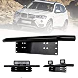 Liteway 23inch License Plate Holder and Light Bar Mount Aluminum Bull Bar Style Front Bumper Number Plate Frame for Daytime Running Light Offroad LED Light Bar, Suitable for Most Vehicles, Black