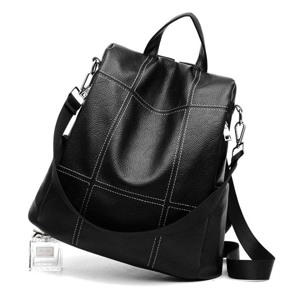 Women Backpack Purse Waterproof PU Leather Anti-theft Rucksack Fashion School Shoulder Bag Black