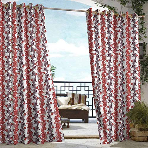 (DILITECK Extra Wide Outdoor Curtain Koi Fish Hibiscuses Carp Koi Vertebrates in The Pattern of Harmony Between East and West Room Darkening, Noise Reducing W96 xL84 Eggplant Ruby)