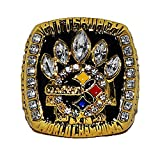 PITTSBURGH STEELERS (Hines Ward) 2005 SUPER BOWL XL WORLD CHAMPIONS Rare & Collectible High-Quality Replica NFL Football Gold Championship Ring with Cherrywood Display Box